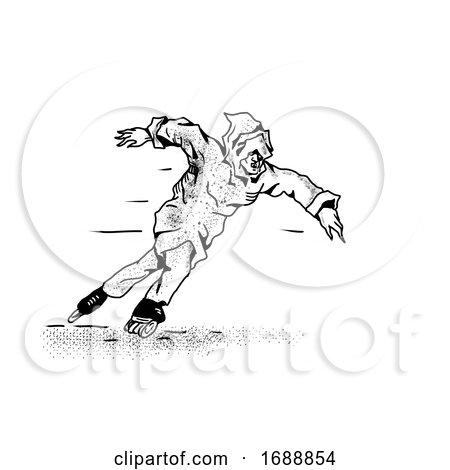 Phantom Inline Speed Skater Drawing by patrimonio