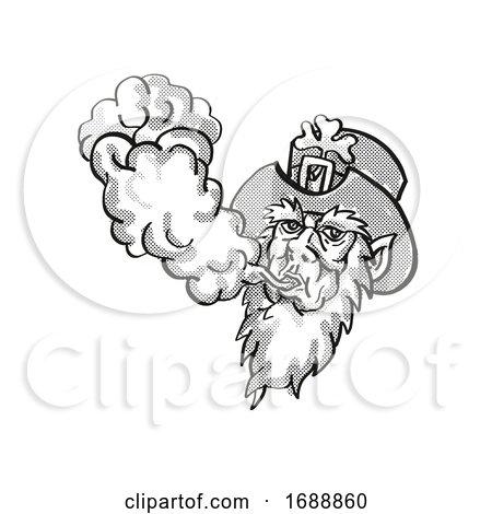 Irish Leprechaun Vaping Puffing Smoke Tattoo Drawing by patrimonio