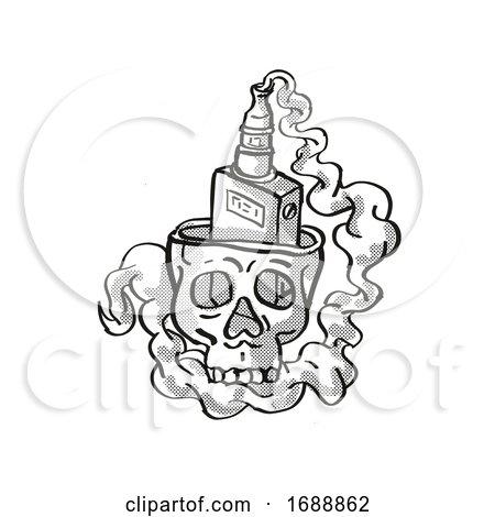 Human Vaper Skull Smoking Tattoo Drawing by patrimonio