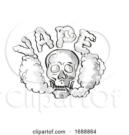 Human Vaper Skull Vaping Puffing Smoke Tattoo Drawing by patrimonio