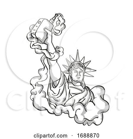 Statue of Liberty Holding Vape Electronic Cigarette Tattoo by patrimonio
