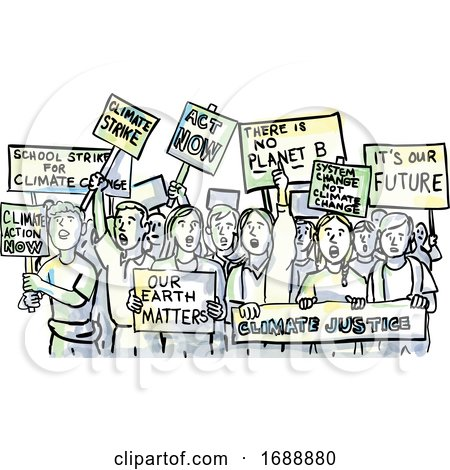 Young Students Protesting on Climate Change Watercolor Posters, Art Prints