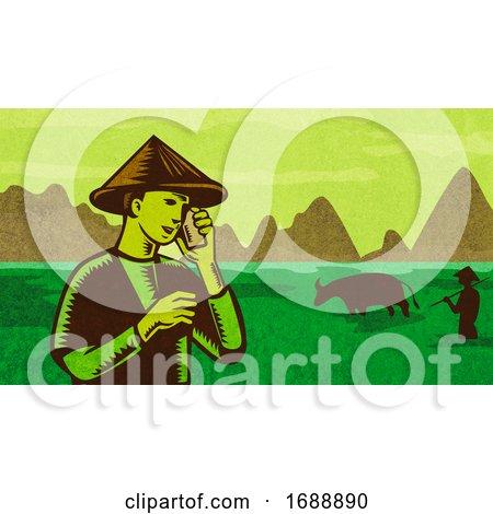 Vietnamese or South East Asian Farmer Talking on Mobile Phone Retro by patrimonio