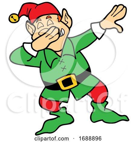 Cartoon Christmas Elf Dabbing by LaffToon