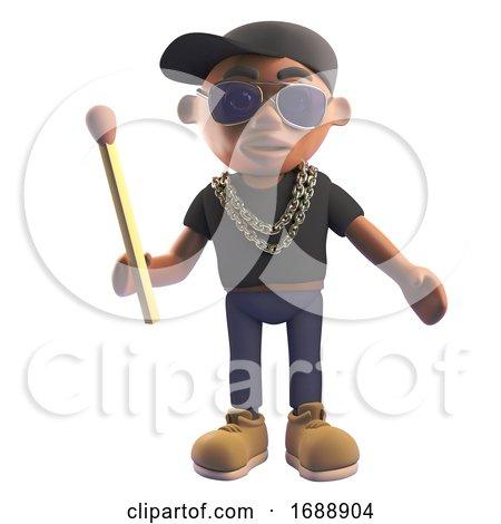 3d Black Hiphop Emcee Rap Artist in Baseball Cap Holding an Unlit Match, 3d Illustration by Steve Young