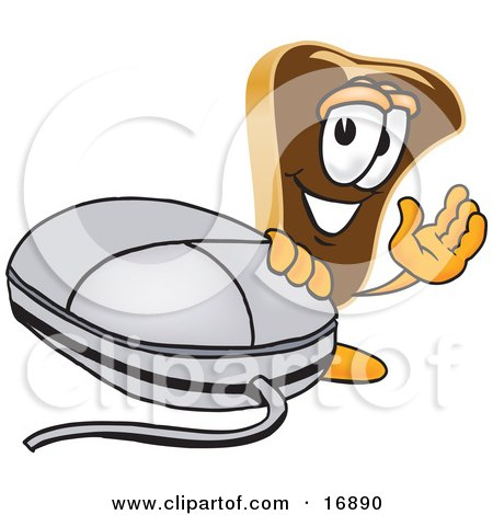 Clipart Picture of a Meat Beef Steak Mascot Cartoon Character Waving and Standing by a Computer Mouse by Toons4Biz