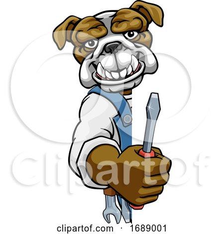 Bulldog Electrician Handyman Holding Screwdriver Posters, Art Prints