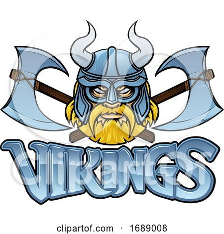 Viking Mascot Warrior Crossed Axes Sign Graphic by AtStockIllustration