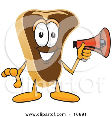 Clipart Picture of a Meat Beef Steak Mascot Cartoon Character Preparing to Make an Announcement With a Red Megaphone Bullhorn by Toons4Biz
