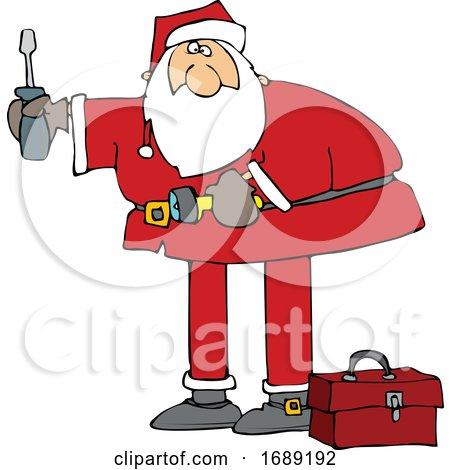 Cartoon Santa Using Tools Posters, Art Prints