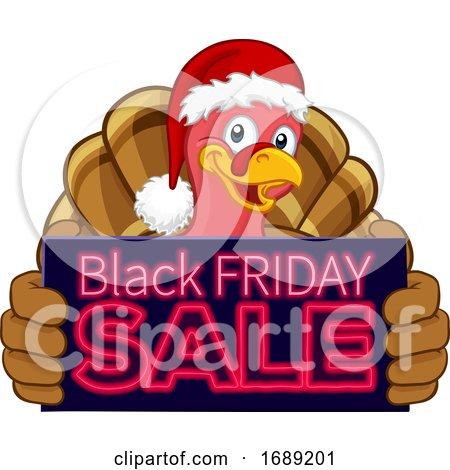 Black Friday Sale Turkey in Santa Hat Cartoon by AtStockIllustration