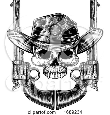 Skull in Cowboy Hat with Sheriff Star and Pistols by AtStockIllustration