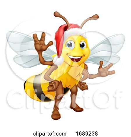Honey Bumble Bee in Santa Christmas Hat Cartoon by AtStockIllustration