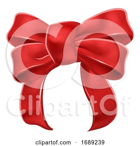 Red Ribbon Gift Bow by AtStockIllustration