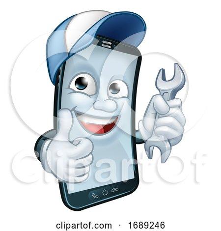 Mobile Phone Repair Spanner Thumbs up Mascot Posters, Art Prints