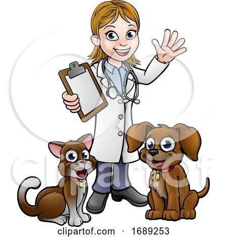 Cartoon Veterinarian Character with Cat and Dog by AtStockIllustration