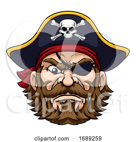Pirate Captain Cartoon Character Mascot by AtStockIllustration