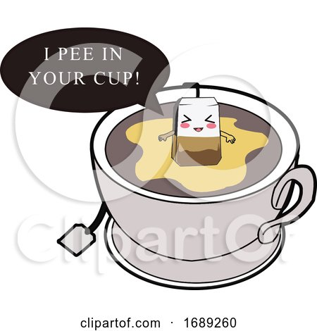 Tea Bag Peeing in a Cup Posters, Art Prints