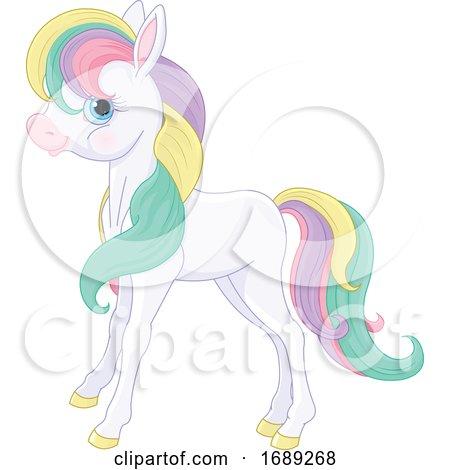 Cute Pony with Rainbow Hair by Pushkin