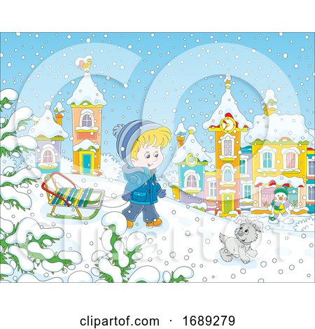 Boy Pulling a Sled in the Snow Posters, Art Prints