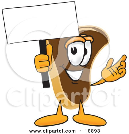 Clipart Picture of a Meat Beef Steak Mascot Cartoon Character Waving a Blank White Advertising Sign by Toons4Biz