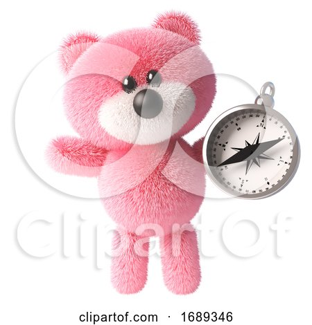 Cute Pink 3d Cuddly Teddy Bear Soft Toy Character Holding a Magnetic Compass, 3d Illustration by Steve Young