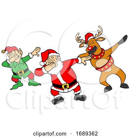 Cartoon Christmas Elf and Reindeer Dabbing with Santa by LaffToon