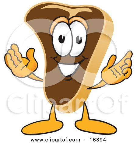 Clipart Picture of a Meat Beef Steak Mascot Cartoon Character Welcoming With Open Arms by Toons4Biz