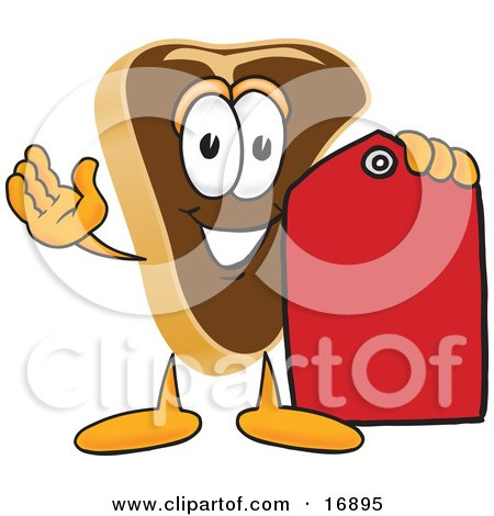 Clipart Picture of a Meat Beef Steak Mascot Cartoon Character Holding a Blank Red Sales Price Tag by Toons4Biz