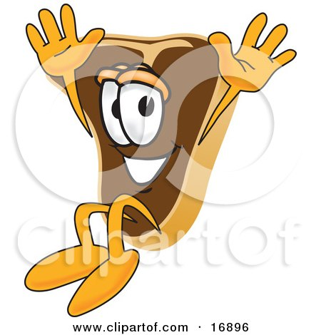 Clipart Picture of a Meat Beef Steak Mascot Cartoon Character Jumping by Toons4Biz