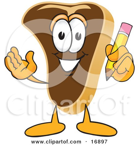 Clipart Picture of a Meat Beef Steak Mascot Cartoon Character Holding a Pencil by Toons4Biz