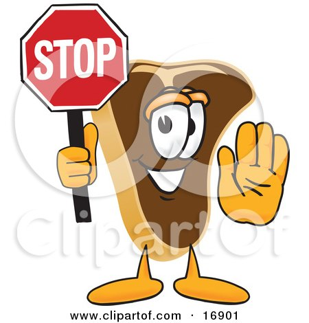 Clipart Picture of a Meat Beef Steak Mascot Cartoon Character Holding a Stop Sign by Toons4Biz