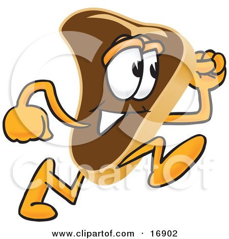 Clipart Picture of a Meat Beef Steak Mascot Cartoon Character Running by Toons4Biz