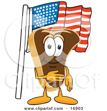 Clipart Picture of a Meat Beef Steak Mascot Cartoon Character Pledging Allegiance to the American Flag by Toons4Biz