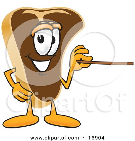 Clipart Picture of a Meat Beef Steak Mascot Cartoon Character Using a Pointer Stick by Toons4Biz