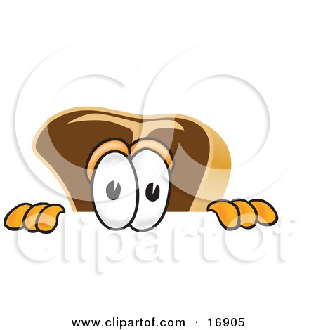Clipart Picture of a Meat Beef Steak Mascot Cartoon Character Peeking Over a Surface by Toons4Biz