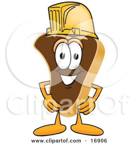 Clipart Picture of a Meat Beef Steak Mascot Cartoon Character Wearing a Yellow Hardhat by Toons4Biz