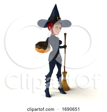 3d Sexy Blue Witch, on a White Background by Julos