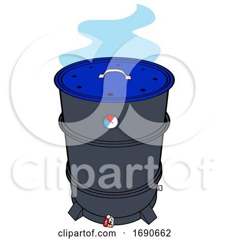 Drum Barrel Bbq Smoker with Blue Smoke by LaffToon