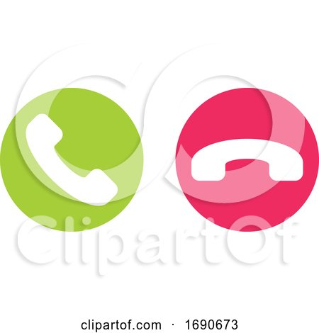 Icon or Button of Green and Red Handset Call or Hang up by elena