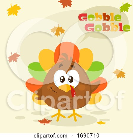 Cartoon Colorful Turkey Bird with Autumn Leaves by Hit Toon