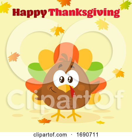 Happy Thanksgiving Greeting over a Colorful Turkey Bird with Autumn Leaves by Hit Toon