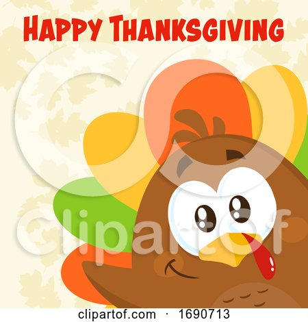 Happy Thanksgiving Greeting over a Colorful Turkey Bird Peeking by Hit Toon