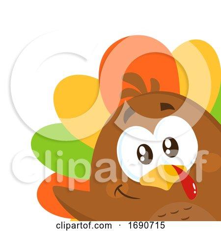 Colorful Turkey Bird Peeking by Hit Toon