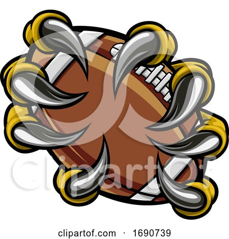 Monster Animal Claw Holding American Football Ball by AtStockIllustration