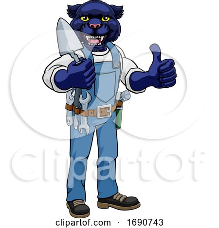 Panther Bricklayer Builder Holding Trowel Tool Posters, Art Prints