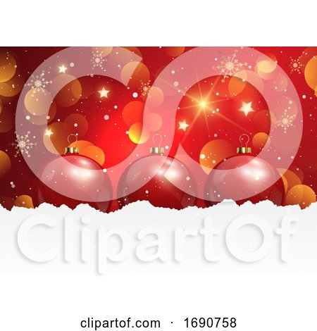 Christmas Background with Baubles in Snow by KJ Pargeter