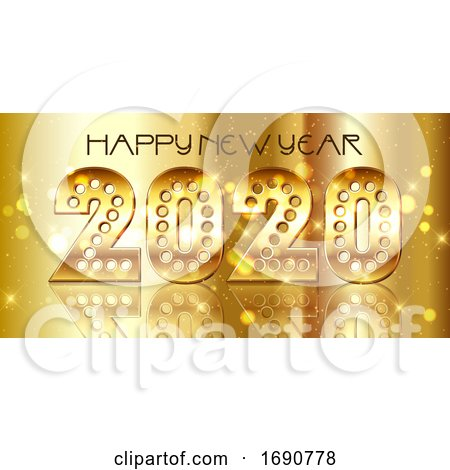 Happy New Year Background with Decorative Gold Numbers by KJ Pargeter