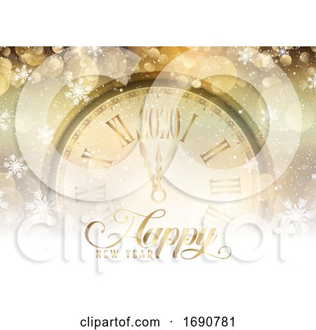 Gold Happy New Year with Clock Design by KJ Pargeter