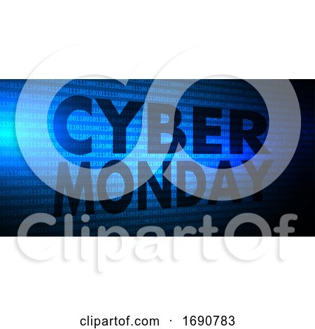 Cyber Monday Banner with Binary Code Design by KJ Pargeter